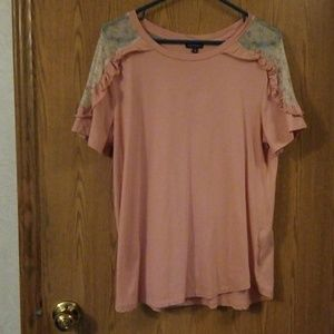 Hannah Antique Pink Ruffle Mesh Floral Inset Tee L